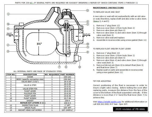 Link to 230-AC Maintenance Instructions and BOM (PDF)